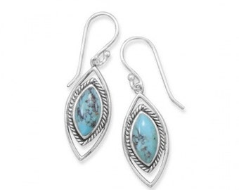 Sterling Silver Oxidized Marquise Reconstituted Turquoise Earrings