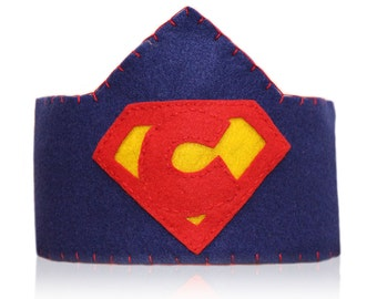 Superhero Felt Crown, Personalized Logo, Custom Made For Your Little Superhero