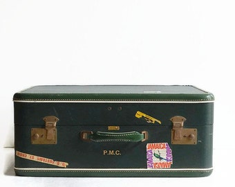 vintage green suitcase 1950s travel luggage