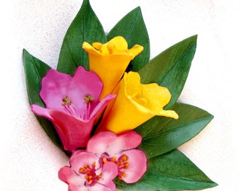 Azalea, Jessamine and Apple Blossom Posy Pin