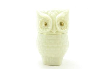 Avon Owl Perfume Bottle Vintage White Glass Cream Perfume Jar Gold Eyes
