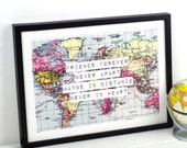 World Map Print, Friendship Quote, Map Art, Friend Gift, Long Distance, Friend Print, Leaving Gift, Travel, World Map Poster, Map Art Print