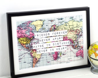 World Map Print, Friendship Quote, Map 8x10, Friend Gift, Long Distance, Friend Print, Leaving Gift, Travel, World Map Poster, Map Art Print