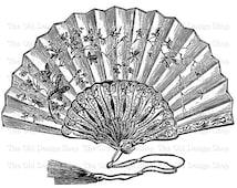 Hand Held Victorian Fan Clip Art Vintage Printable Illustration Digital Download PNG JPG Image