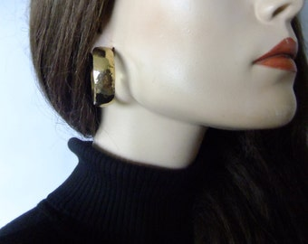 thick gold hoop earrings, costume jewelry, vintage gold hoops