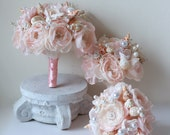 Set of one bride's bouquet and 6 bridesmaid bouquets in light pink shades. The second part of order