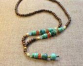 Yoga Mala necklace - Long necklace - mala beads gemstones necklace - Chrysocolla Carnelian necklace - Brown Necklace - Turquoise necklace