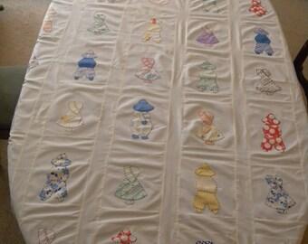 Vintage ~ 1940s Sue Bonnet Cotton Quilt Hand Appliqued Cover Ready to Make into a BEAUTIFUL Quilt