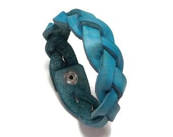 """8 1/4"""" Aqua Bracelet, Leather Bracelet, Braided Leather Bracelet, Plus Size Leather Bracelet, Braided Bracelet"""