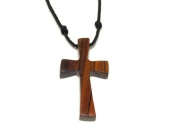 Wooden Cross Pendant - Reclaimed Cocobolo Hardwood - Gifts for Him - Gifts Under 20