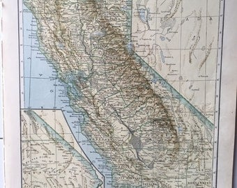 1943 Vintage Map Pages (California on one side and Colorado on the other side)