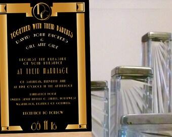 Great Gatsby Wedding Invitation, Art Deco wedding invitation, Vintage wedding, Roaring Twenties, Glittery,Gold and Black,