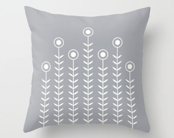 36 colours, Minimalist Flowers Decorative Pillow, Dove grey decor, Nordic Scandinavian style, Faux Down Insert, Indoor or Outdoor cover