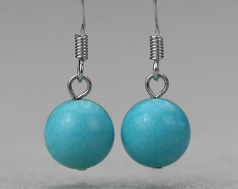 5.99-9.99 dollars Turquoise stone simple drop earrings Bridesmaid gifts Free US Shipping handmade Anni designs