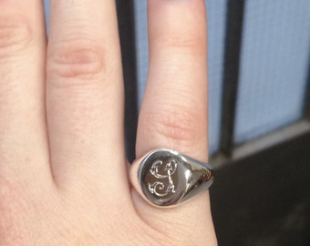 Oval Signet Ring, Florentine Script, hand-made and hand engraved to order, Sterling Silver