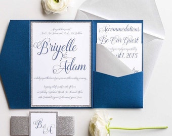 Silver and Navy Blue Wedding Invitation Package with Enclosure Cards and RSVP, Navy Blue and Silver Glitter Wedding Suite, Briyelle