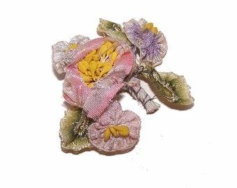 C.1900 FRENCH Silk Ombre Ribbon Floral Spray/Applique/Embellishment