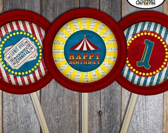 "Carnival Party - Circus Party - Lollipop Labels Stickers (3.5"" Round) - Customized Printable (Vintage Inspired)"