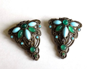 Vintage Dress Clips Art Deco Green and Blue Glass Cabochons