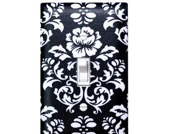 Damask Light Switch Plate Cover / Black and White / Baby Girl Nursery Decor / Teen Girl / Bathroom