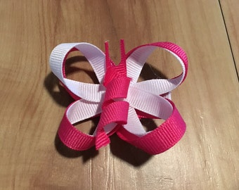 Pink and White Butterfly Bow/clip