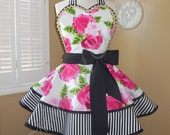 English Rose Print Woman's Retro Apron Accented With Black and White Stripes, Featuring Lace Trimmed Heart Shaped Bib