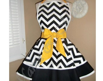 Chevron Print Accented with Golden Yellow Womans Retro Apron With Tiered Skirt And Bib
