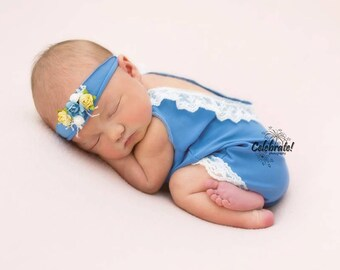 Blue Newborn Romper, Photo Prop, Hand Sewn, Home Coming Outfit