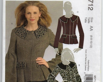 Lined Jacket With Front Button And Snap Closure Top Stitched Princess Seams Pleated Peplum Size 6 8 10 12 Sewing Pattern 2008 McCalls M5712