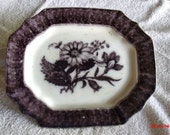 Collector's Item, Staffordshire Flora Patterned Serving Platter, Thomas Walker 1840 Mulberry Platter, Black and Grey platter....
