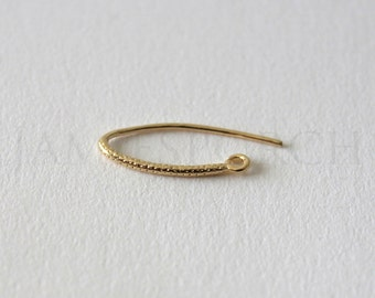 Wire Coil Earrings, Hook Earring, Ear Wires, Earring Component, French, Gold Plated over Brass 4pc