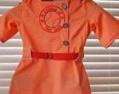 Made and Ready to SHIP Children's siae 6 Dark Peach Leagure of Her Own Vintage New Baseball Dress and R Patch Red Hat by Messy Kids Designs