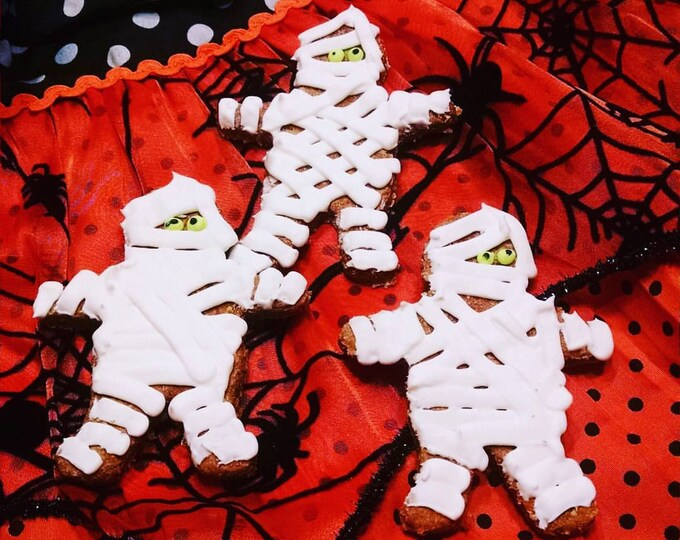 3 Large Mummy Dog treats fall Halloween