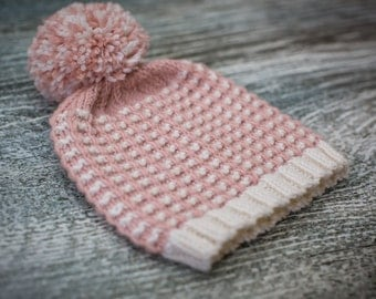 Baby Pom Pom Hat, Pink, White, Size 0-3 months, Hand Knit, UK Seller, Baby Gift, Ready to Ship