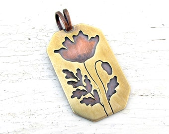 Poppy Pendant Copper and Brass Hexagonal Mixed Metal Necklace