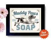 Laundry Room Decor Dog Art Home Laundry Sign Wall Art Print Washing Machine Kitchen Art Mud Room Clothespin