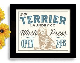 West Highland Art Westie Dog Art Laundry Sign Norwich Terrier Dog Art Cairn Terrier Laundry Room Decor Wash Press Fold Washing Machine