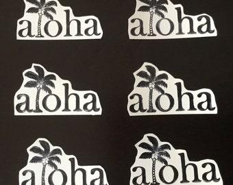 Aloha Palm Tree Stamped Sticker