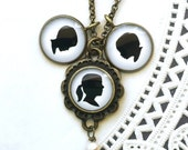 3 Pendant Brass Silhouette Necklace with 2 Medium & 1 Scalloped Setting with Dangle for Mother or Grandmother