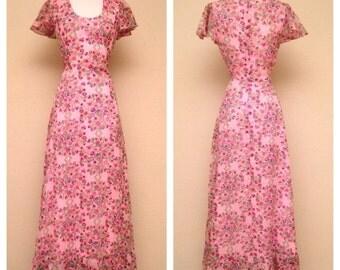 ON SALE Vintage 1960s Dress Pink Floral Dress Arjon of California 60s Full Length Boho Hippie Floral Dress Pink Floral Print Feminine Size S