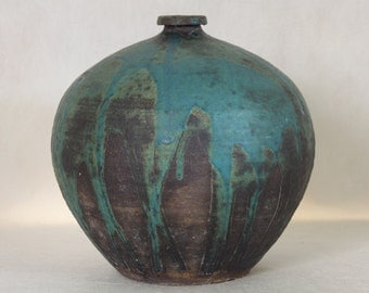Pottery Vase Blue and Brown Drippy Glaze Vintage Folk Art Pottery Aqua
