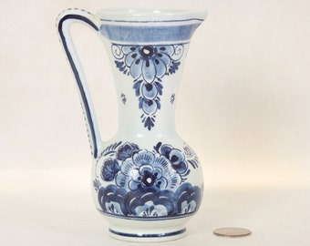 Vintage Delfts Hand Painted Small Blue and White Pitcher Vase Handpainted Holland Bue and White Flowers Art Pottery