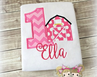 Pink barn birthday shirt - first birthday barnyard themed shirt - personalized farm themed shirt for girls - pink barnyard shirt - pink farm