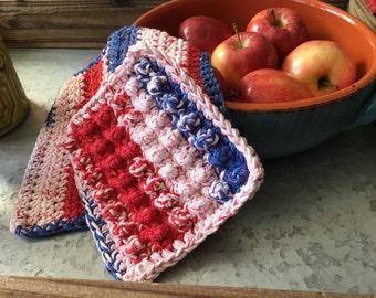 Crochet Kitchen Dishcloths Cotton  -    Red White Blue Set of 2 - READY to SHIP