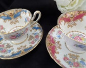 Two Elegant Shelley Tea Cups -- Shelley Cups and Saucers -- English Tea Set -- Sheraton -- Gainsborough -- Collectibles