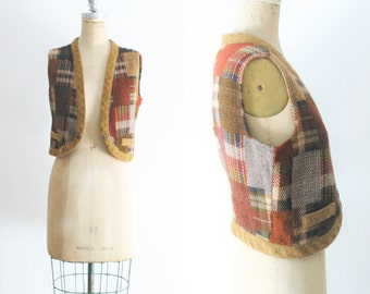 Vintage Madras Plaid Vest Vintage Plaid Vest Madras Vest Wool Plaid Vest Hobo Vest Patchwork Vest Small Medium Large