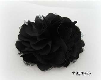 ON SALE Black Satin and Tulle Flower -- 1 pc. GISELLE Collection.