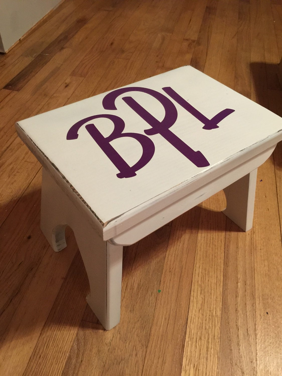 Childs wood stool personalized step