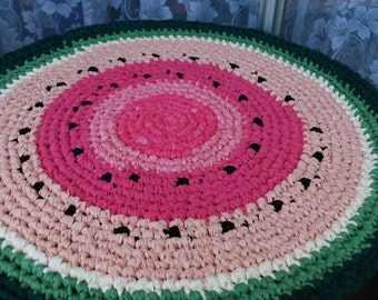 Watermelon handmade circle rug