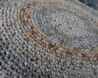Pastel Beige,Creme Gray handmade circle rug